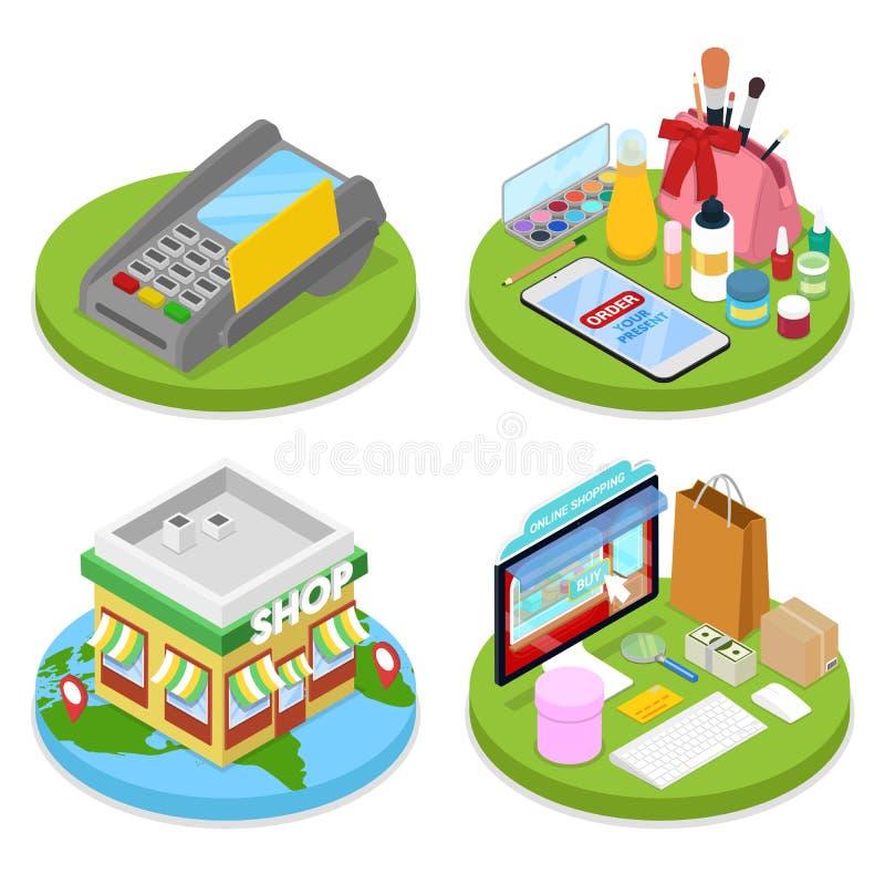 Isometrisch online het winkelen concept Mobiele Betaling Internet-Schoonheidsopslag Elektronische Zaken royalty-vrije illustratie