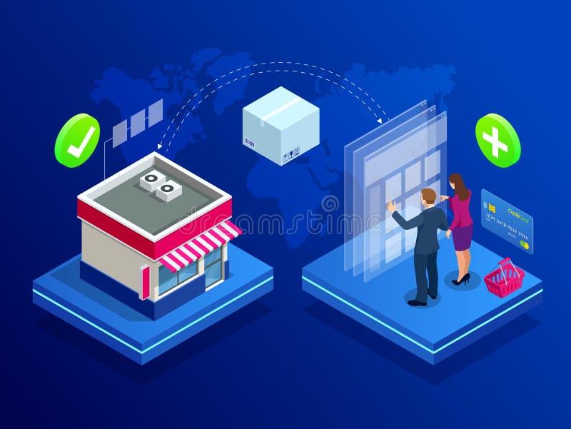 Isometrisch Online Internet-Opslagconcept Concept online winkel, online opslag Elektronische handel en Marketing Blauw Viooltje stock illustratie