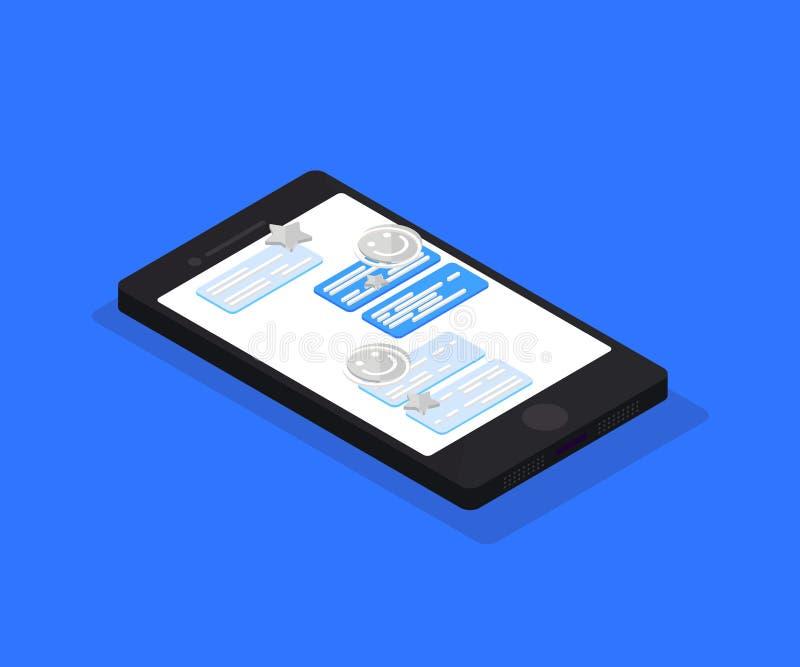Isometrisch online praatje Isometrische Vectorillustratie Slimme telefoon met overseinentoepassing vector illustratie