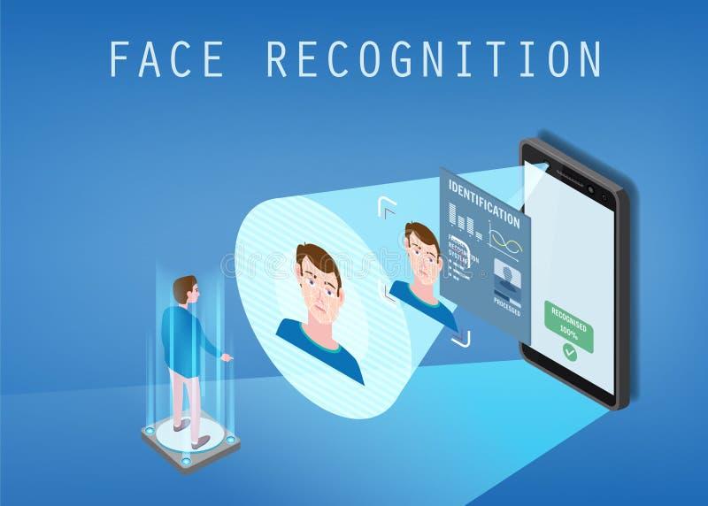 Isometrisch ontwerp Smartphone tast het gezicht van een persoon af Biometrische identificatie, mannetje Smartphone tast af royalty-vrije illustratie
