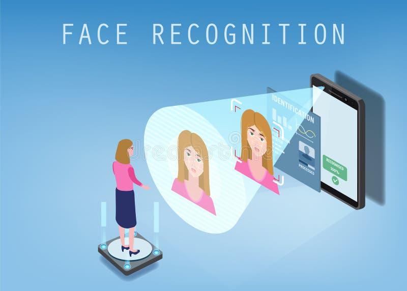 Isometrisch ontwerp Smartphone tast het gezicht van een persoon af Biometrische identificatie, wijfje Smartphone tast af vector illustratie