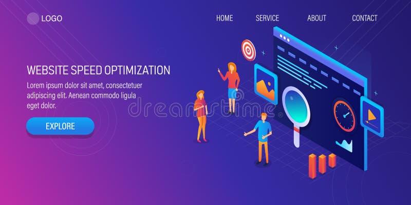 Isometrisch ontwerpconcept de optimalisering van de websitesnelheid, seoteam die bij websiteontwikkeling en de digitale marketing vector illustratie