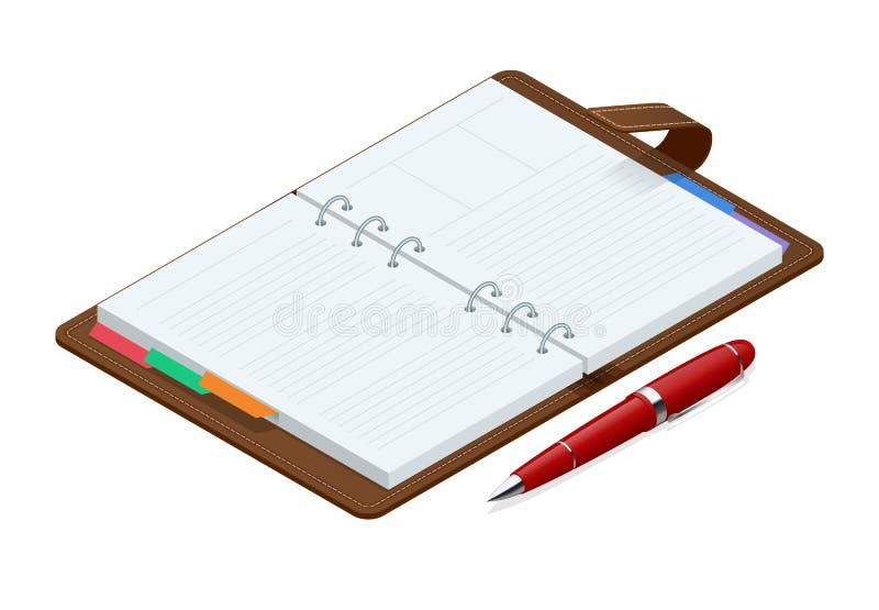 Isometrisch open leeg spiraalvormig blocnotenotitieboekje en rode die pen op witte achtergrond wordt geïsoleerd Spot omhoog voor  vector illustratie