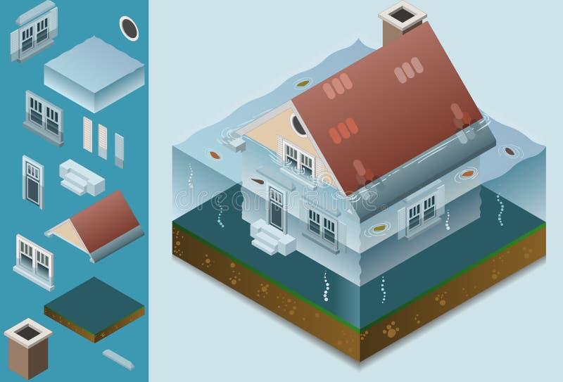 Isometrisch overstroomd huis vector illustratie