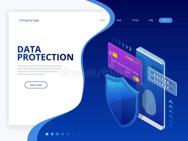 Isometrisch persoonlijk de bannerconcept van het gegevensbeschermingweb Cyberveiligheid en privacy Verkeersencryptie, VPN, Privac royalty-vrije illustratie
