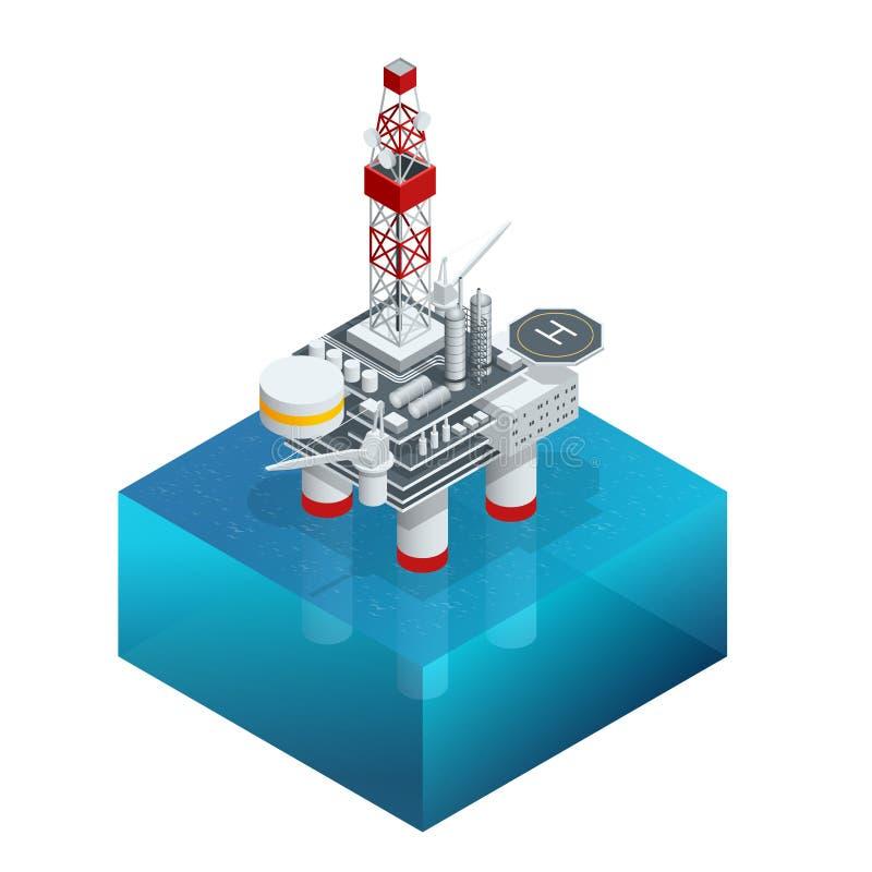 Isometrisch platform voor productieolie en gas, Olie en gas de industrie en het harde werk, Productieplatform en verrichting royalty-vrije illustratie