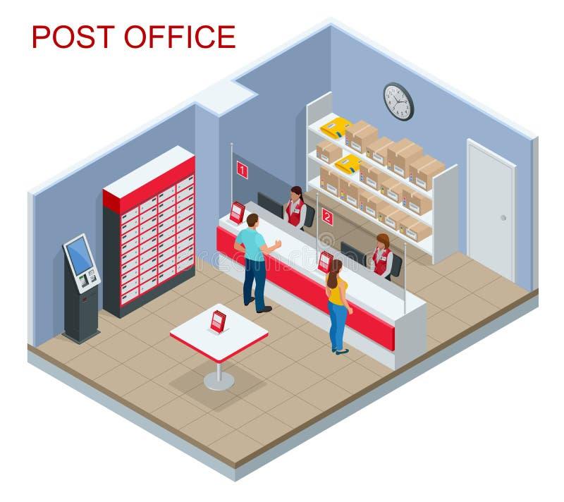 Isometrisch Postkantoorconcept Jonge man en vrouw die op een pakket in een postkantoor wachten Correspondentie geïsoleerde vector royalty-vrije illustratie
