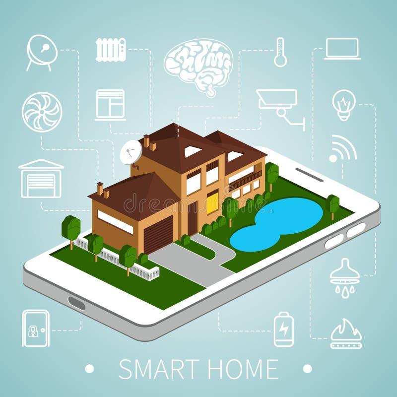 Isometrisch slim huis stock illustratie
