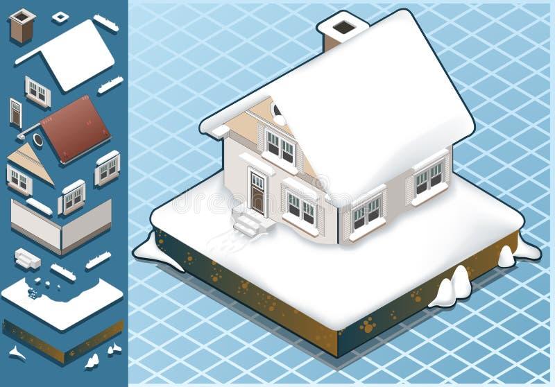 Isometrisch Sneeuw Afgedekt Huis vector illustratie