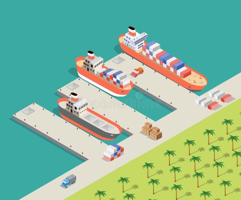 Isometrisch Stads industrieel dok vector illustratie