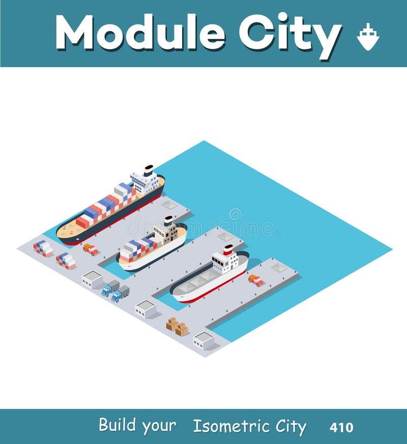 Isometrisch Stads industrieel dok royalty-vrije illustratie