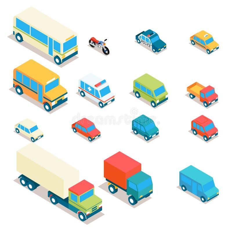 Isometrisch stadsvervoer en vrachtwagens vectorpictogrammen royalty-vrije illustratie