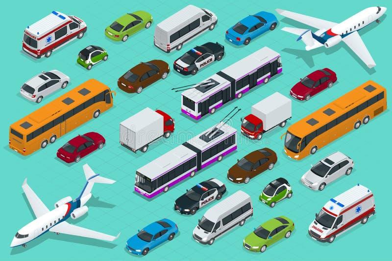 Isometrisch stadsvervoer met voor en achtermeningen Karretje, vliegtuig, sedan, bestelwagen, ladingsvrachtwagen, off-road, fiets, stock illustratie