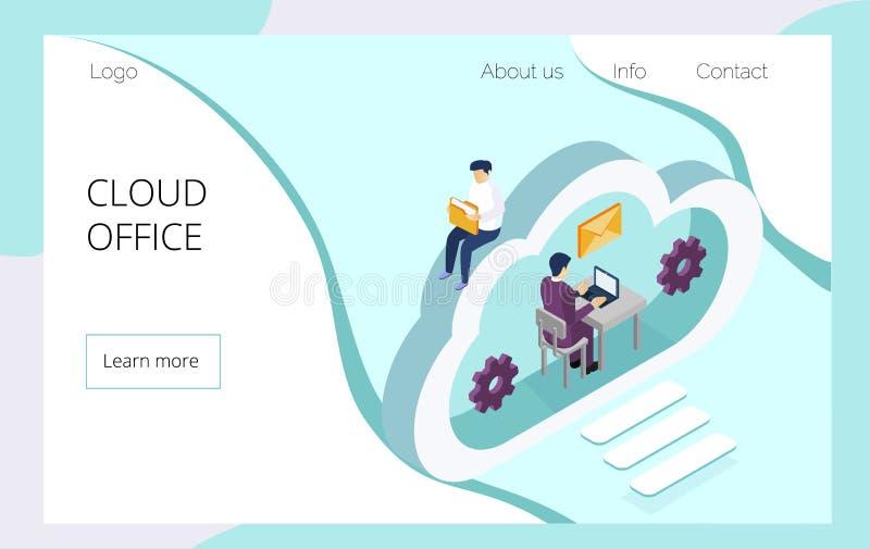 Isometrisch team van specialisten die aan digitale marketing strategie landende pagina werken royalty-vrije illustratie