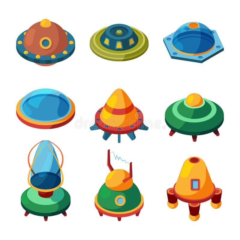 Isometrisch UFO en vreemdelingen De vector ruimteplaten isoleren royalty-vrije illustratie