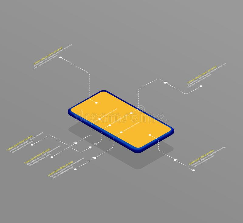 Isometrisch van de smartphone vectorillustratie malplaatje als achtergrond met plaats voor beschrijving stock illustratie