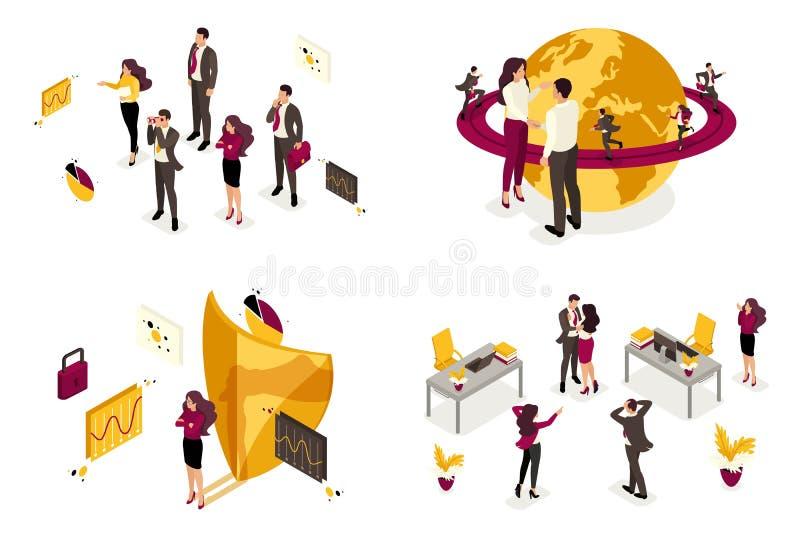 Isometrisch van het concept bedrijfsprocessen voor wereldoverheersing, de rekrutering van personeel voor het bevel voor stock illustratie