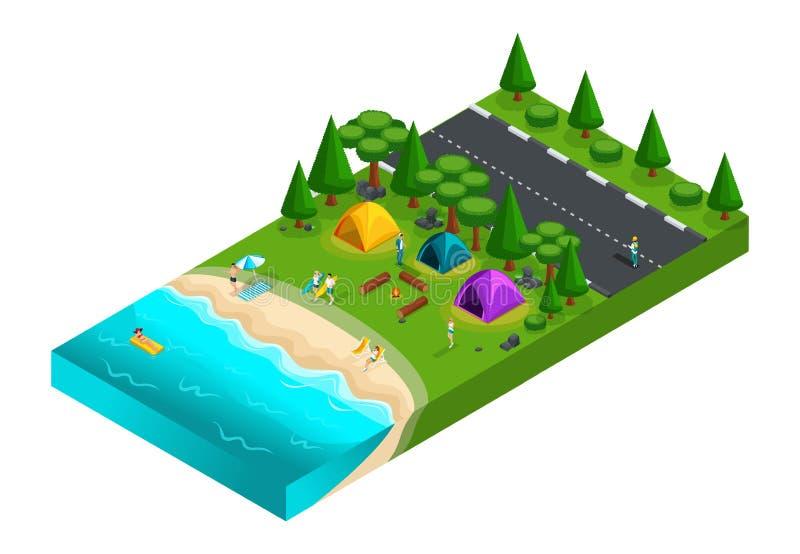 Isometrisch van het kamperen, vrienden op vakantie, verse lucht, picknick, op de aard, bos, overzees, strand, kust van het meer,  royalty-vrije illustratie