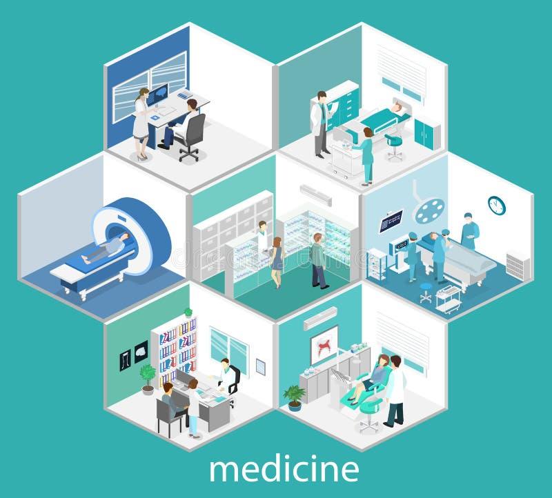 Isometrisch vlak binnenland van het ziekenhuisruimte, apotheek, artsen` s bureau, vector illustratie