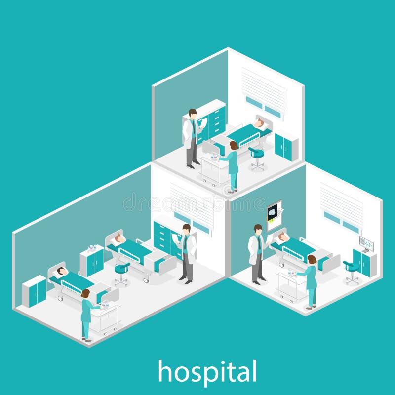 Isometrisch vlak binnenland van het ziekenhuisruimte Artsen die de patiënt behandelen royalty-vrije illustratie