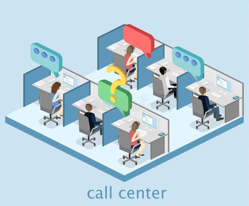 Isometrisch vlak 3D binnenlands call centre Klantenondersteuning royalty-vrije illustratie
