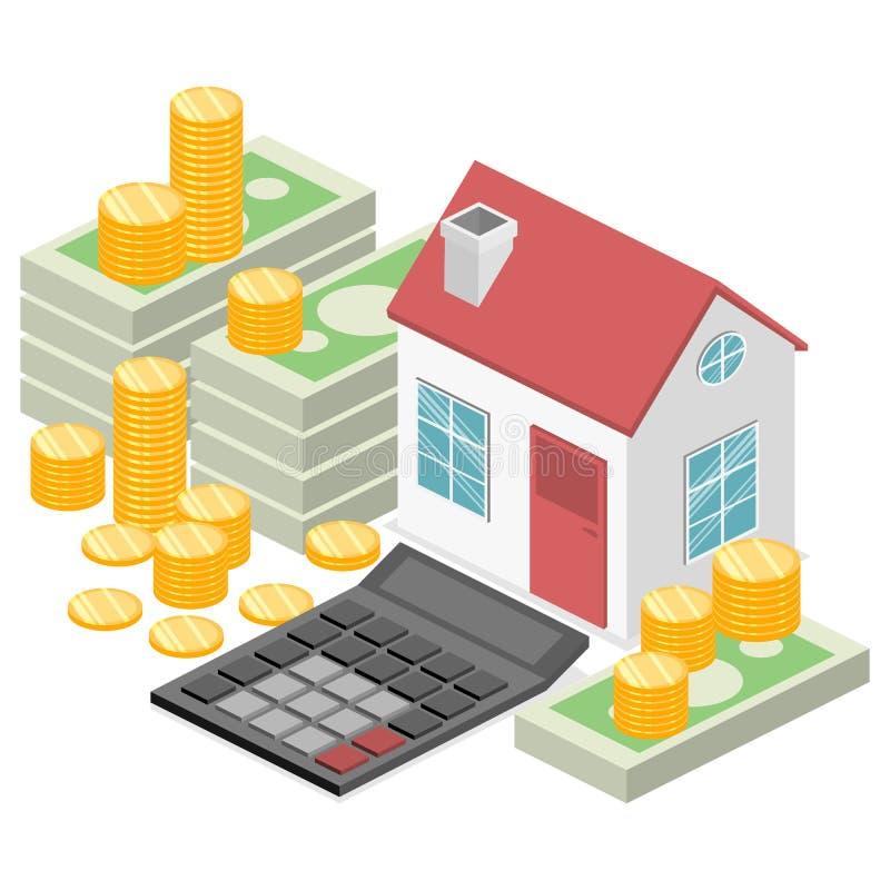 Isometrisch vlak 3D Huis en de investering van het onroerende goederengeld stock illustratie