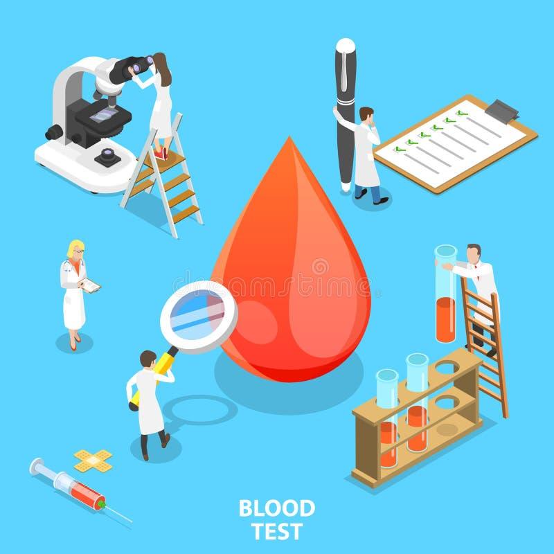 Isometrisch vlak vectorconcept bloedonderzoekprocedure vector illustratie