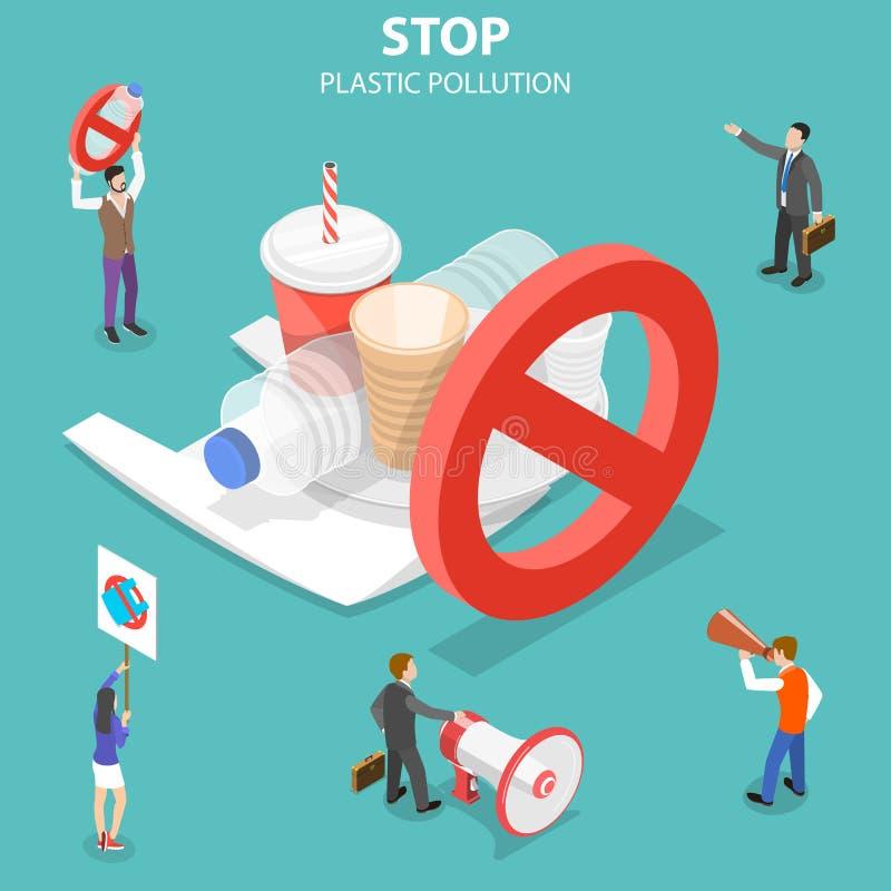 Isometrisch vlak vectorconcept einde plastic verontreiniging vector illustratie