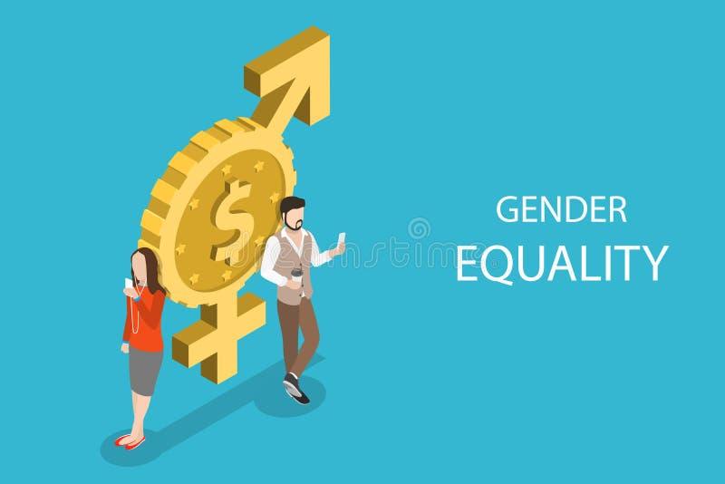 Isometrisch vlak vectorconcept gendergelijkheid, mannelijke en vrouwelijke gelijke rechten royalty-vrije illustratie