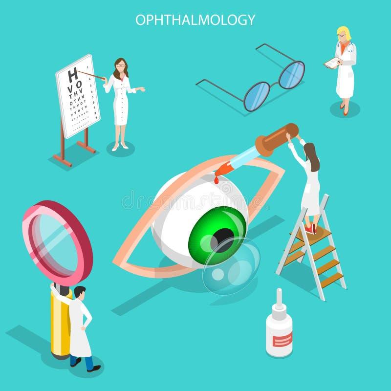 Isometrisch vlak vectorconcept oftalmologie, zichtcontrole omhoog royalty-vrije illustratie