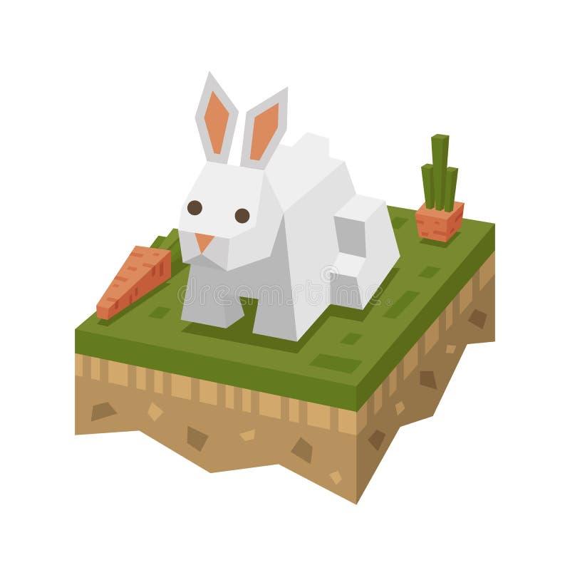 Isometrisch vlak wit konijn op de tegel van grond met gras en wortel royalty-vrije illustratie