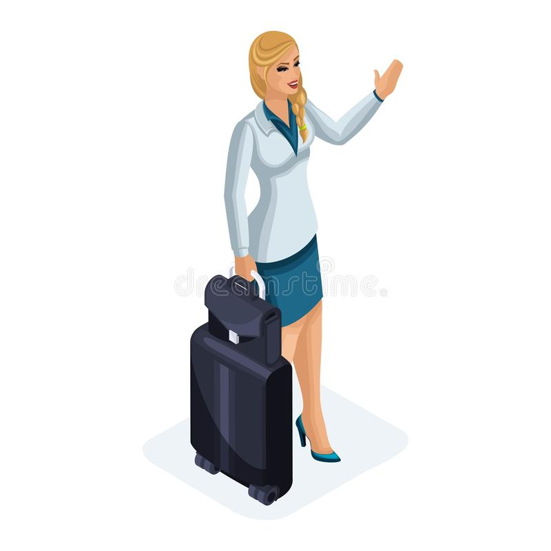 Isometrisch von einer Schönheit auf einer Geschäftsreise, zu ihrem Gepäck, gehört das Wellenartig bewegen, um sich zu treffen Sti stock abbildung