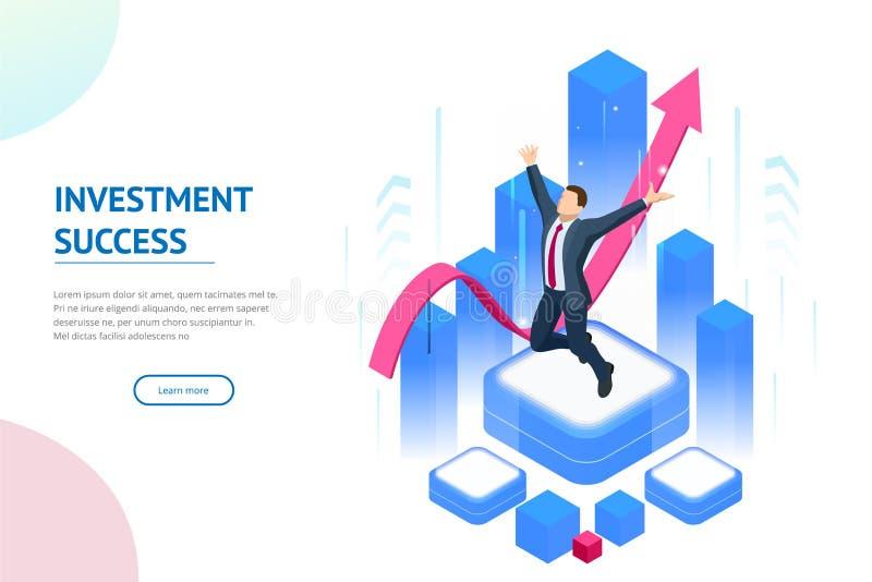 Isometrisch zakenmansucces, leiding, toekenning, carri?re, succesvolle projecten, doel, winnend plan, leidingskwaliteiten vector illustratie