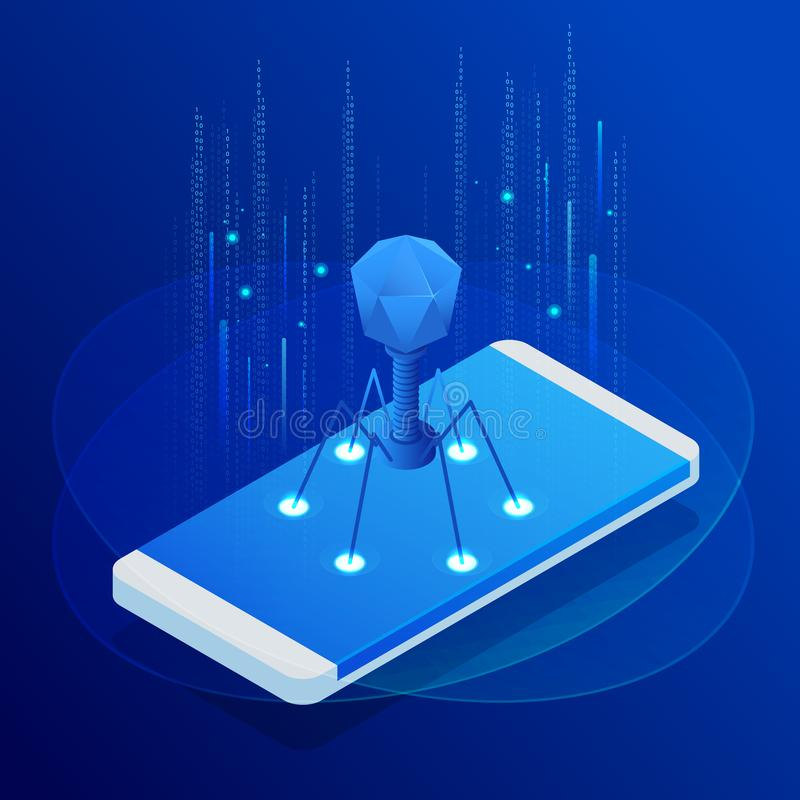 Isometrische aanrakingstelefoon met virus, waakzaam bericht, het binnendringen in een beveiligd computersysteem, cybersecurity, d vector illustratie