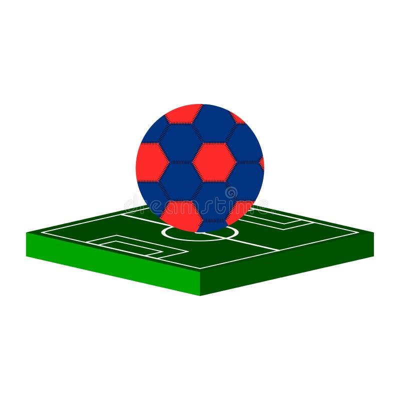 Isometrische Abbildung Die Kugel auf dem Fußballplatz Vektor stock abbildung