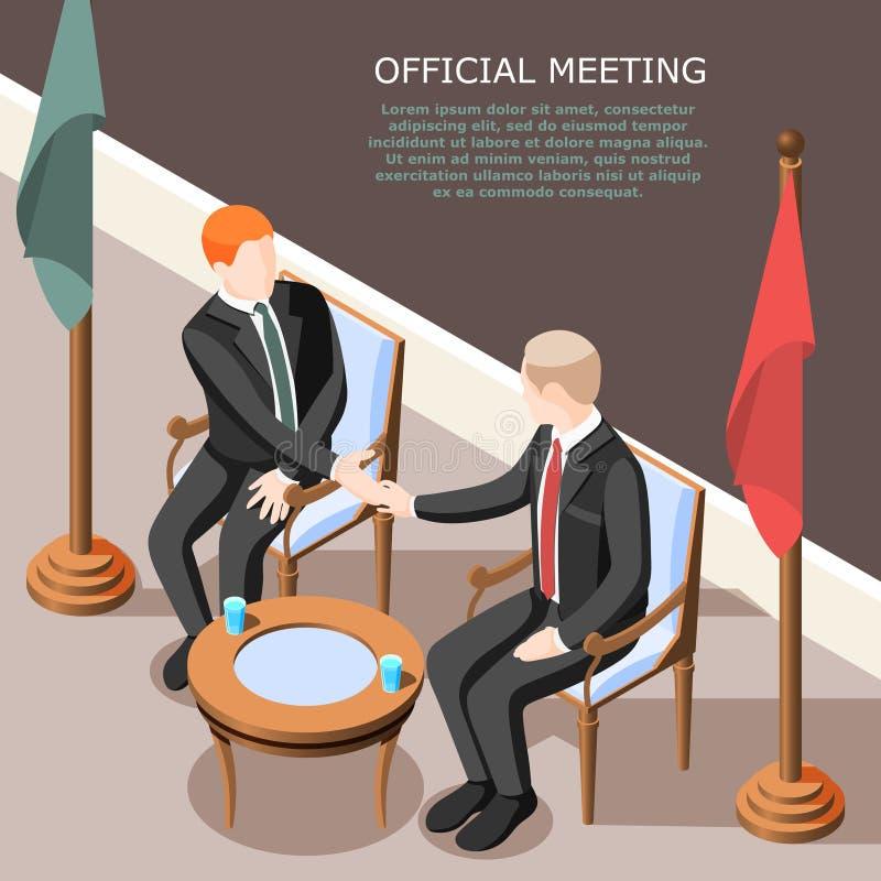 Isometrische Achtergrond van de politici de Officiële Vergadering royalty-vrije illustratie