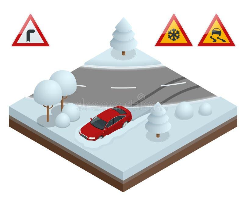 Isometrische afwijkingsauto op een sneeuwwegconcept De zware sneeuw op de weg die op het drijven wordt gevaarlijk vector illustratie