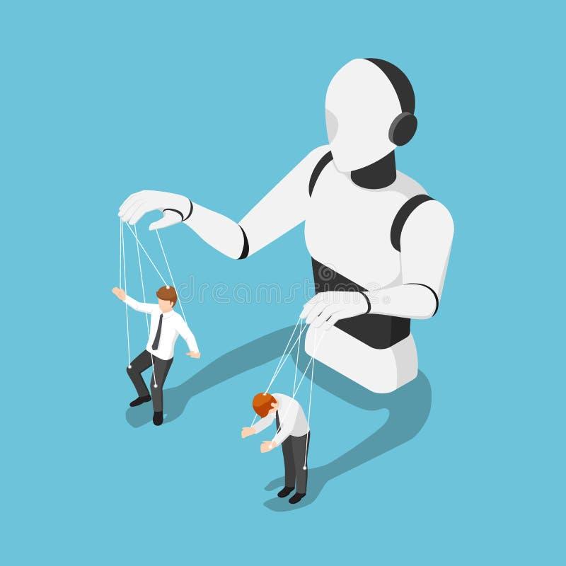 Isometrische Ai robot controlerende zakenman zoals een marionet vector illustratie