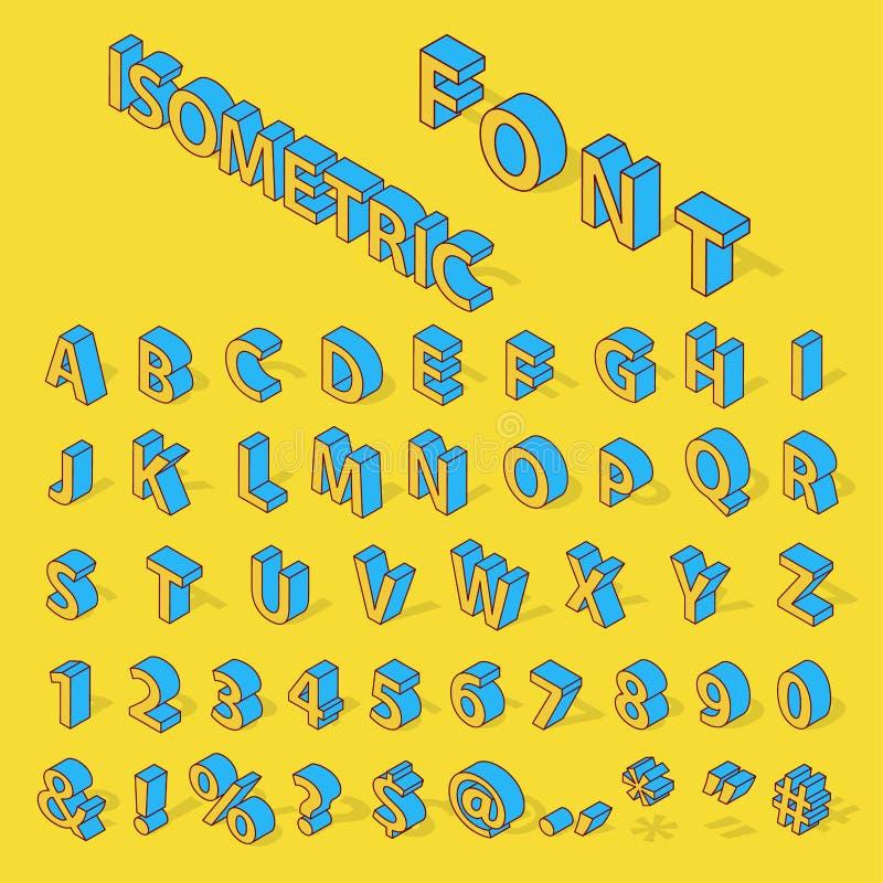 Isometrische alfabetdoopvont vector illustratie