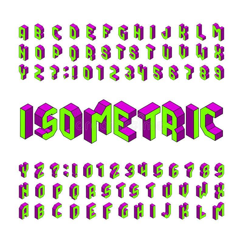 Isometrische alfabetdoopvont 3D effect letters en getallen Geïsoleerdj op witte achtergrond vector illustratie