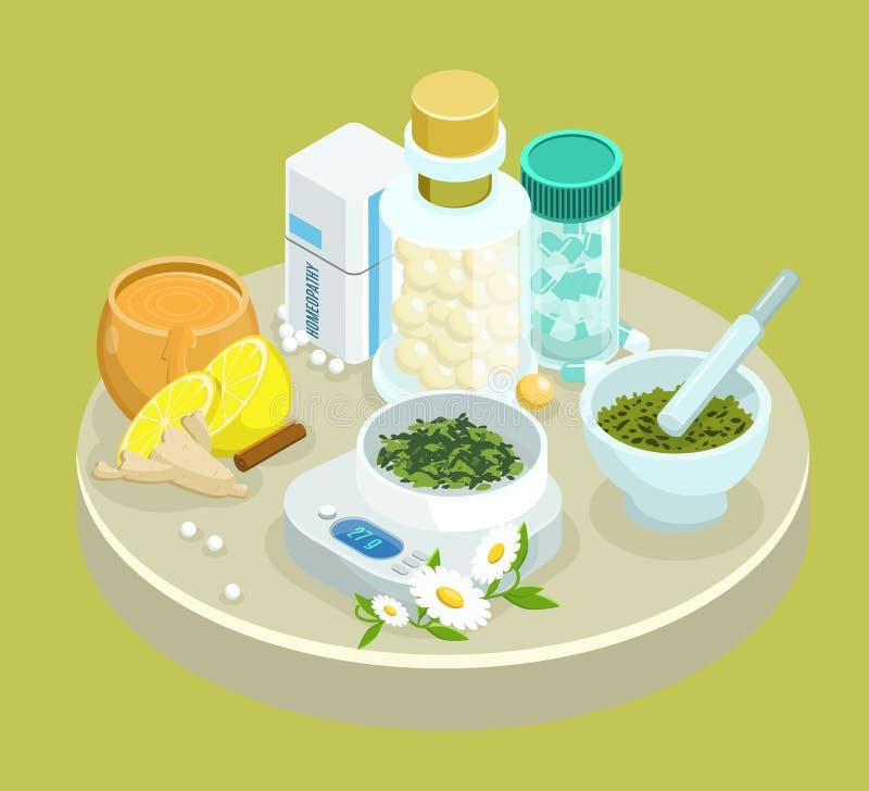 Isometrische alternative Behandlungs-Medikations-Schablone lizenzfreie abbildung