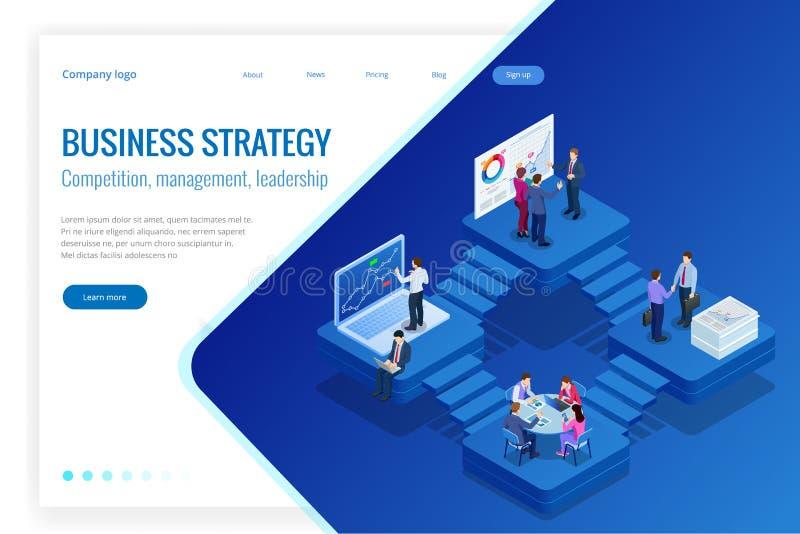 Isometrische Analyse-Daten und Investition Projektleiter, Geschäftskommunikation, Arbeitsfluß und Beratung Website und stock abbildung