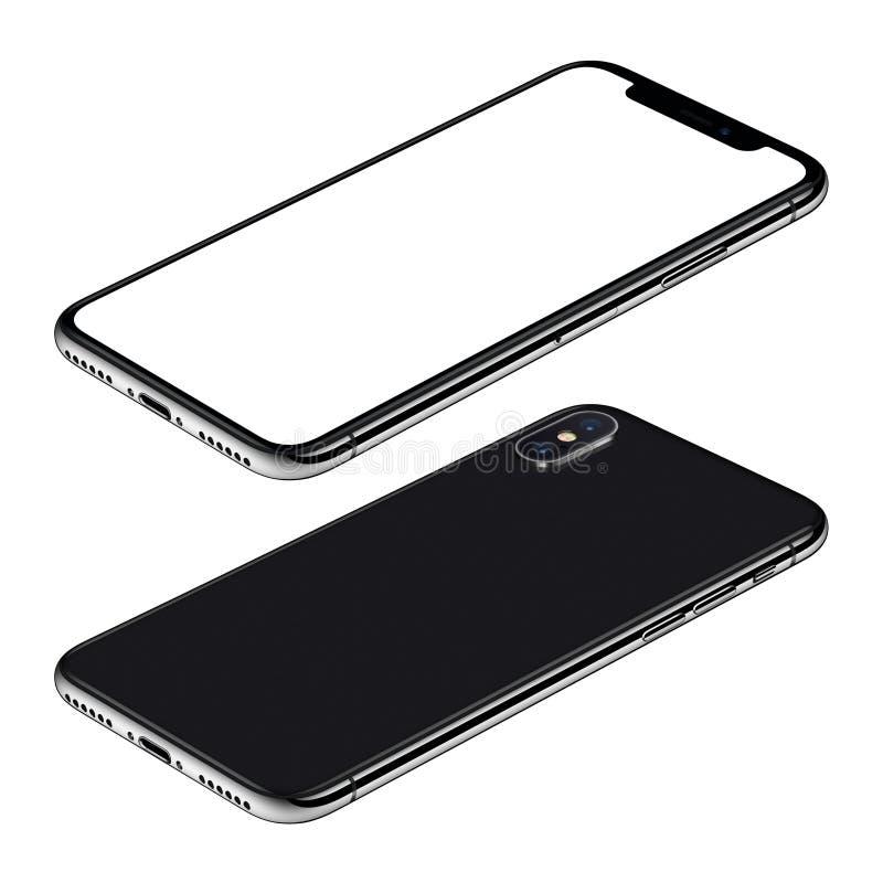 Isometrische Ansicht CW der vorderen und Rückseiten des schwarzen Smartphonemodells drehte Lügen auf Oberfläche stock abbildung