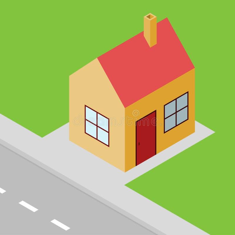 Isometrische Ansicht des kleinen Hauses, Vorstadtzustand lizenzfreie abbildung