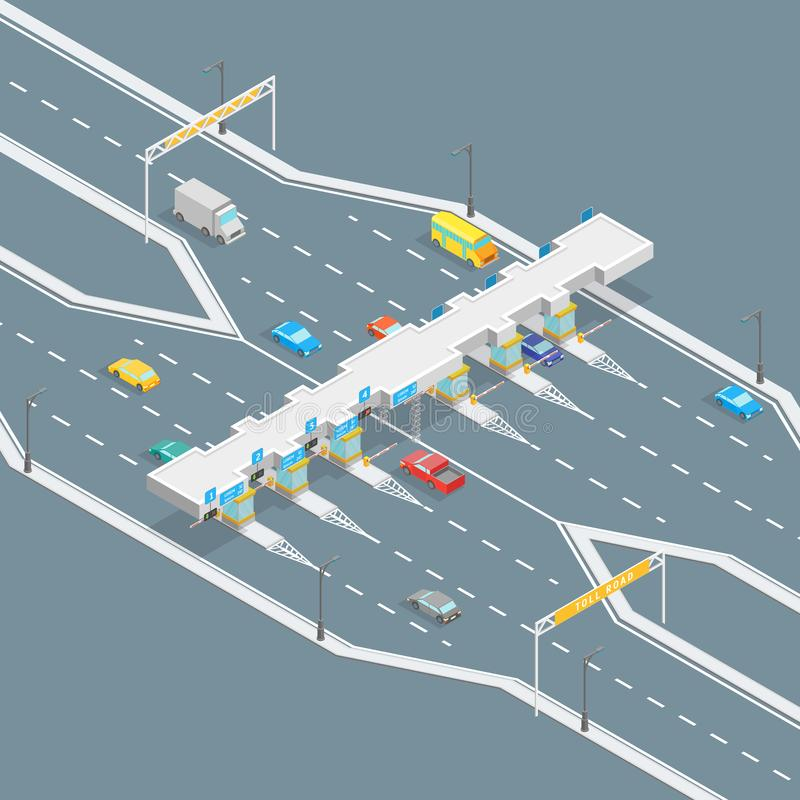 Isometrische Ansicht des Mautstraße-Zahlungs-Konzept-3d Vektor lizenzfreie abbildung