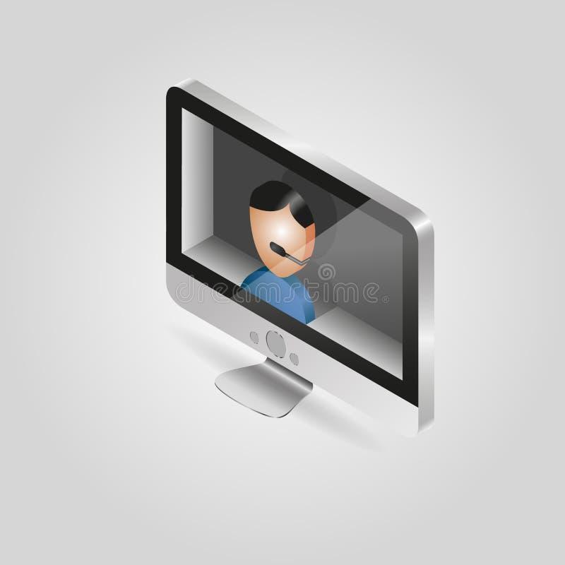 Isometrische Ansicht des Vektors von einem Personal-Computer mit lizenzfreies stockbild