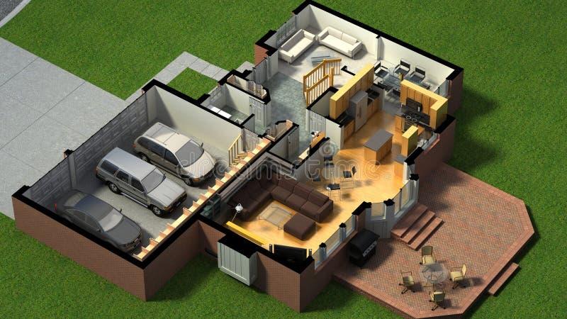 Isometrische Ansicht eines versorgten Hauses stock abbildung