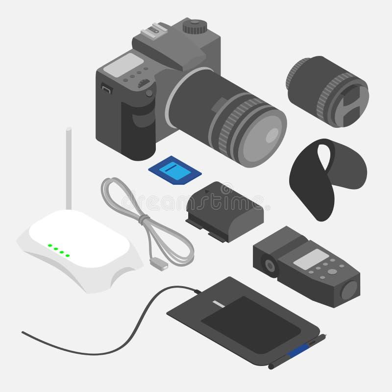 Isometrische apparaten Ontwerp en fotografiehulpmiddelen royalty-vrije illustratie