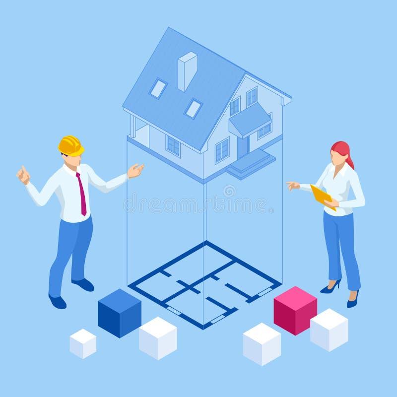 Isometrische architect-bouwers bestuderen een lay-outplan van het huis, een ingenieur van de burgerbevolking die werkt met docume stock illustratie