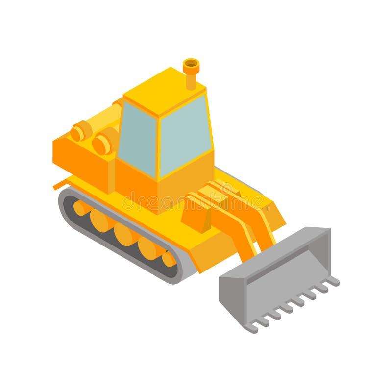 Isometrische Art der Planierraupe lokalisiert Modell Agrimotor 3d Traktorvektor lizenzfreie abbildung
